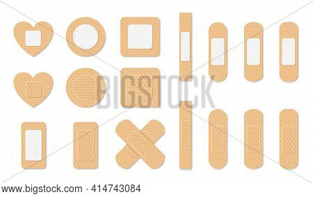 Aid Band Plaster Strip Medical Patch Set. Adhesive Bandage. Medical Plasters Isolated On White Backg