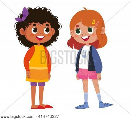 Two Schoolchildren Speak Vector. Children Laugh And Play. The Black Woman Is Beautiful. Two Girls St