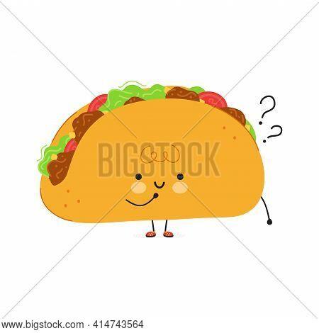 Cute Sad Taco Character. Vector Hand Drawn Cartoon Kawaii Character Illustration Icon. Isolated On W