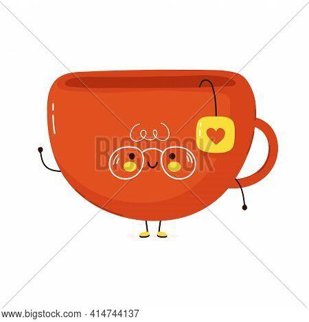 Cute Funny Tea Cup Character. Vector Hand Drawn Cartoon Kawaii Character Illustration Icon. Isolated