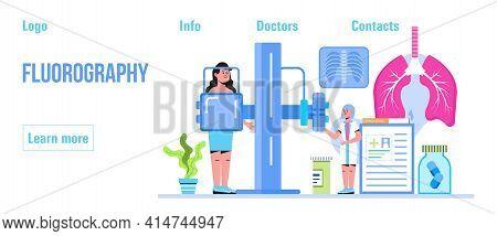 Fluorography Concept Vector. Tuberculosis Specialist Concept Vector. Pulmonary Fibrosis, Pleurisy, T