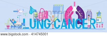Lung Cancer Concept Vector For Header. Pleurisy, Tuberculosis, Pneumonia Illustration For Website, H