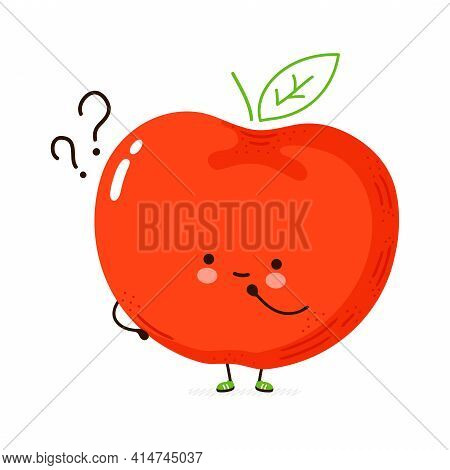 Cute Funny Apple Fruit With Question Marks. Vector Hand Drawn Cartoon Kawaii Character Illustration