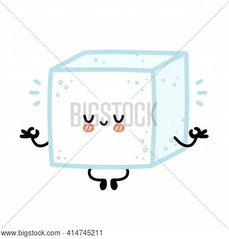 Cute Funny Happy Sugar Piece Cube Character Meditate. Vector Flat Line Cartoon Kawaii Character Illu