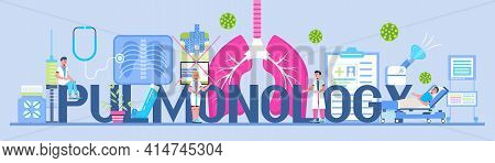Pulmonologist, Phthisiologist Concept Vector For The Landing Page, Header. Scene Of Pulmonary Fibros