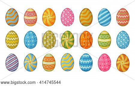 Colorful Chicken Eggs Decorative With Ornament And Patterns Icon Set. Happy Easter Collection. Cute