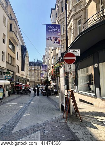 Luxembourg City, Luxembourg - August 26, 2019: Street In The City Center Of Luxembourg