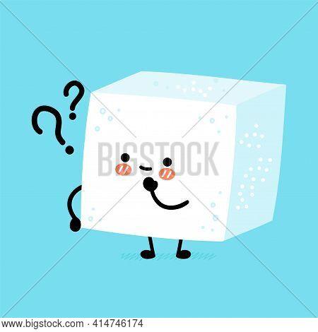 Cute Funny Happy Sugar Piece Cube Character With Question Marks. Vector Flat Line Cartoon Kawaii Cha