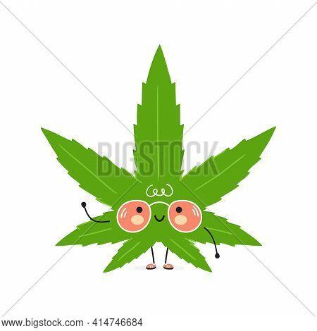 Cute Funny Weed Marijuana Leaf Character. Vector Hand Drawn Cartoon Kawaii Character Illustration Ic