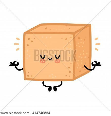 Cute Brown Cane Sugar Cube Character Meditate. Vector Flat Line Cartoon Kawaii Character Illustratio