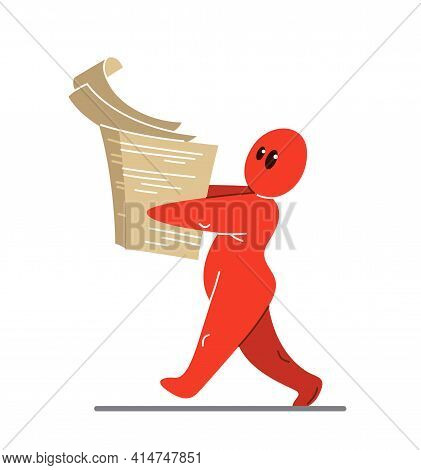 Funny Cartoon Man Carrying A Big Stack Of Paper Documents For A Job Vector Flat Style Illustration I