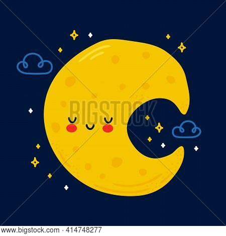 Cute Funny Moon In Night Sky Character. Vector Hand Drawn Cartoon Kawaii Character Illustration Icon