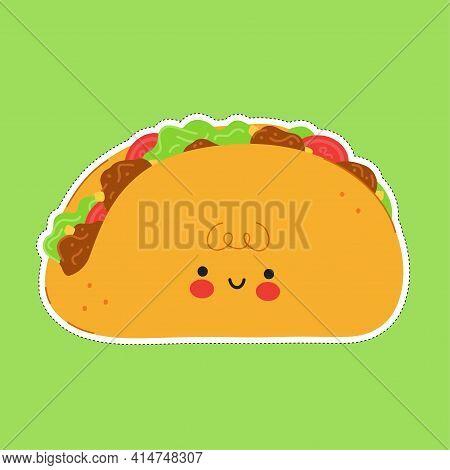 Cute Funny Taco Sticker Character. Vector Hand Drawn Cartoon Kawaii Character Illustration Icon. Iso