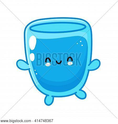 Cute Funny Happy Water Glass Character. Vector Flat Line Cartoon Kawaii Character Illustration Icon.