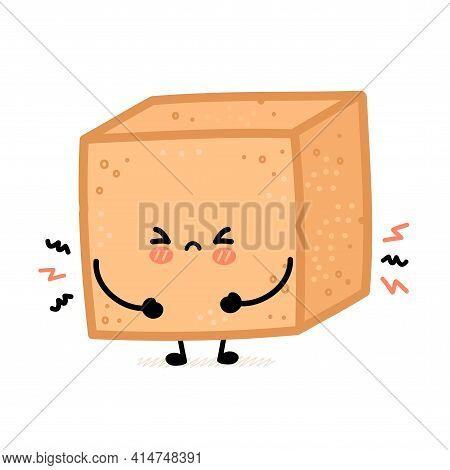 Cute Sad Brown Cane Sugar Cube Character. Vector Flat Line Cartoon Kawaii Character Illustration Ico