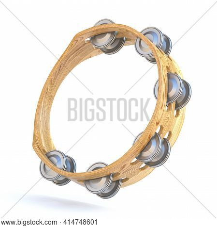 Wooden Tambourine Vertical 3d Render Illustration Isolated On White Background