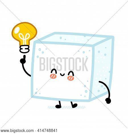 Cute Funny Happy Sugar Piece Cube Character With Idea Light Bulb. Vector Flat Line Cartoon Kawaii Ch