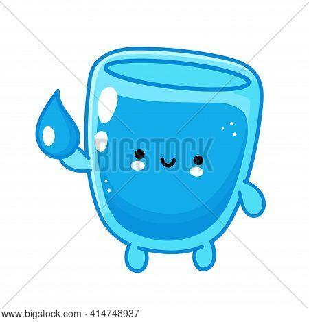 Cute Funny Happy Water Glass Character Hold Aqua Drop. Vector Flat Line Cartoon Kawaii Character Ill