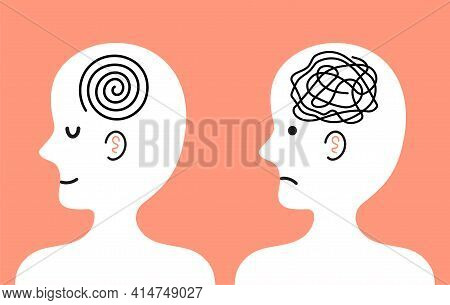 Cute Human Character With Tangle Of Messy Thoughts And Clear Mind In Head. Vector Cartoon Kawaii Cha