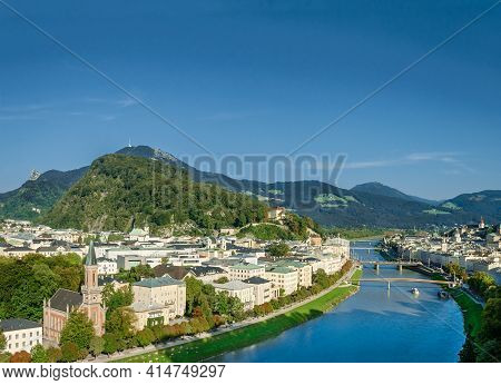 Old Town Of Salzburg Flanked By Kapuzinerberg Hill. Capital City Of State Of Salzburg In Austria, Eu
