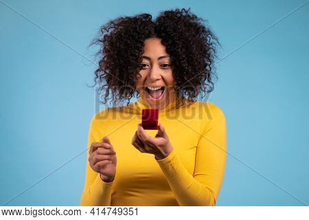 Lady Screaming, Jumping , She Is Happy To Get Present, Proposition For Marriage. Attractive African