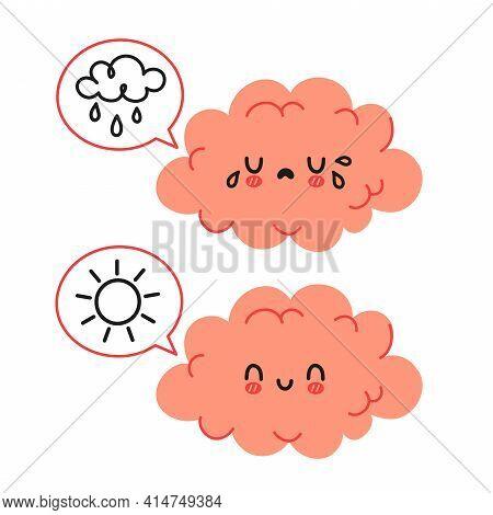 Cute Funny Brain Character And Speech Bubble With Sun And Rain Cloud. Vector Cartoon Kawaii Characte