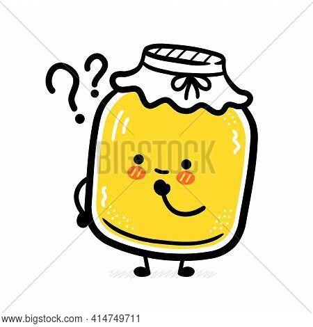 Cute Funny Kombucha Jar Character With Question Mark. Vector Flat Line Cartoon Kawaii Character Illu