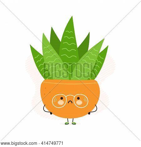 Cute Sad Succulent In A Pot Character. Vector Hand Drawn Cartoon Kawaii Character Illustration Icon.