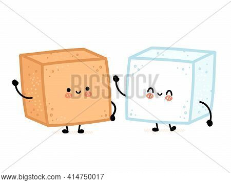 Cute Funny Happy White And Brown Cane Sugar Piece Cube Character. Vector Flat Line Cartoon Kawaii Ch