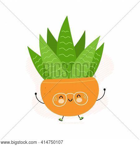 Cute Happy Succulent In A Pot Character. Vector Hand Drawn Cartoon Kawaii Character Illustration Ico