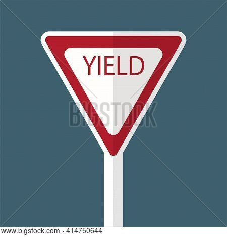 Traffic Sign Yield Road On White Background