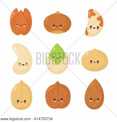 Cute Happy Nuts Set. Vector Flat Cartoon Character Illustration Icon Design. Isolated On White Backg