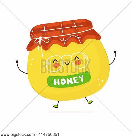 Cute Funny Honey Character. Vector Hand Drawn Cartoon Kawaii Character Illustration Icon. Isolated O