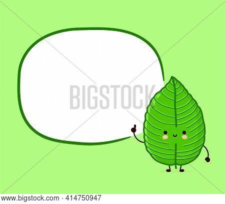 Cute Funny Happy Kratom Leaf Cube Character With Text Box. Vector Flat Line Cartoon Kawaii Character