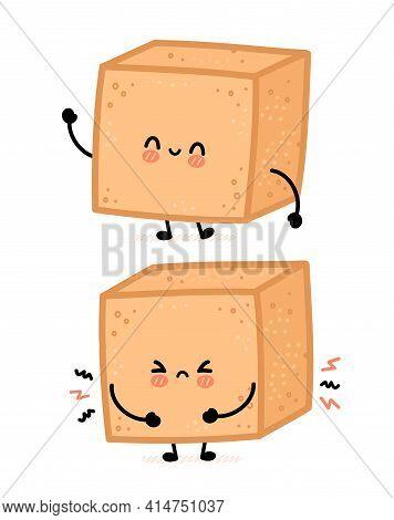 Cute Happy And Sad Brown Cane Sugar Cube Character. Vector Flat Line Cartoon Kawaii Character Illust