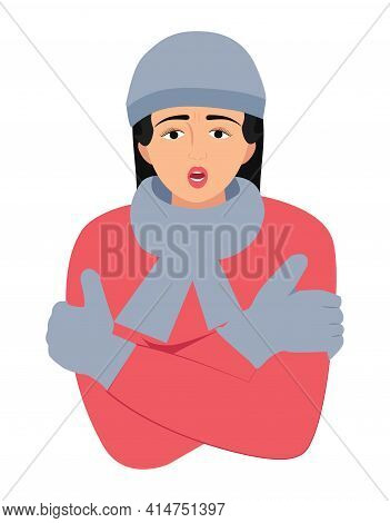 The Woman Is Cold With Hat And Scarf Vector Illustration. Girl Get Sick Sneezing From Flu. Healthcar