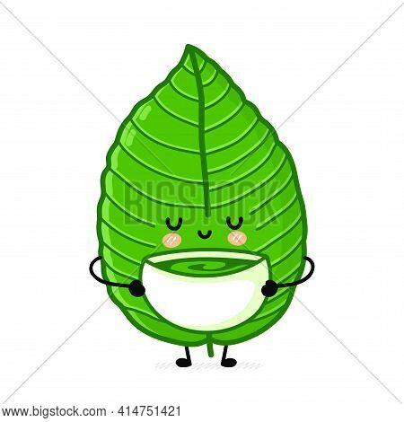 Cute Funny Kratom Leaf Drink Tea From Bowl Character. Vector Flat Line Cartoon Kawaii Character Illu