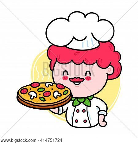 Cute Funny Chef Cook Hold Pizza Character. Vector Hand Drawn Cartoon Kawaii Character Illustration I