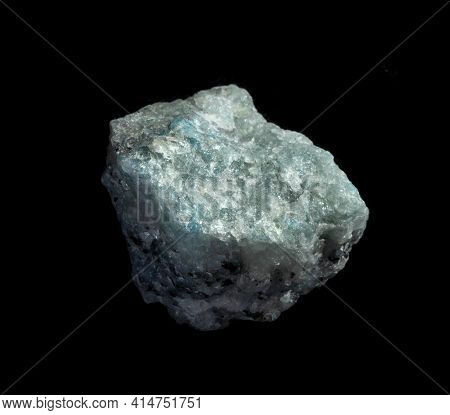 Blue Quartz Mineral Nugget Isolated On Black Background. Geology Mineralogy Websites, Stone Collecti