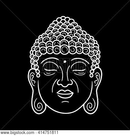 Buddha Portrait In Black Background. Vector Hand Drawn Style Character Illustration Icon. Buddha Fac
