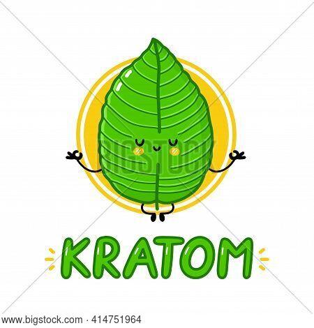 Cute Funny Kratom Leaf Meditate Character Logo Design. Vector Flat Line Cartoon Kawaii Character Ill
