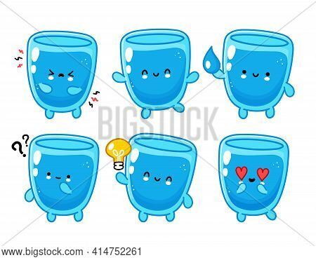 Cute Funny Happy Water Glass Character Set Collection. Vector Flat Line Cartoon Kawaii Character Ill