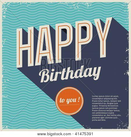Vintage retro happy birthday card, with fonts
