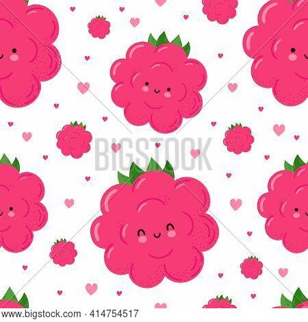 Cute Funny Happy Raspberries And Hearts Seamless Pattern. Vector Kawaii Cartoon Illustration Icon De