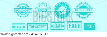 Set Of Patented Stamp Cartoon Icon Design Template With Various Models. Modern Vector Illustration I