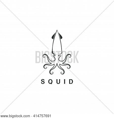 Beautiful Logo Icon Line Art Squid , Stylized Image Of Squid Isolated Logo Template, Squid Tattoo  S