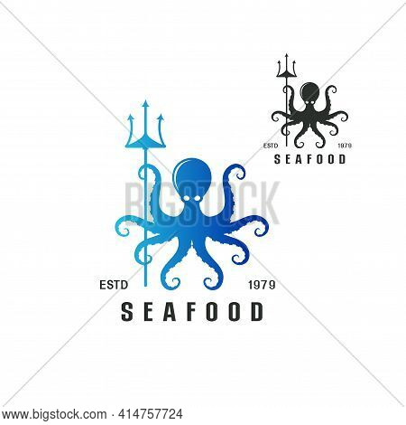 Beautiful Logo Icon Octopus Holding Trident Seafood Concept, Stylized Image Of Octopus Isolated Logo