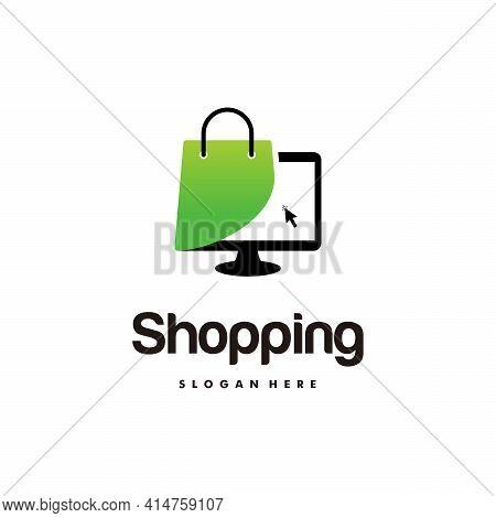 Online Shop Logo Designs Template, Computer And Shopping Bag Logo Vector Illustration