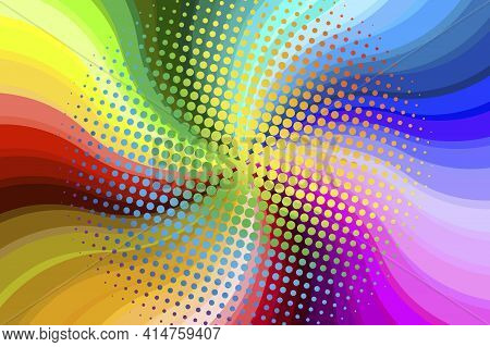 Psychedelic Color Spiral. Psychedelic Swirl. Colorful Background. Stock Vector Image. Eps 10.
