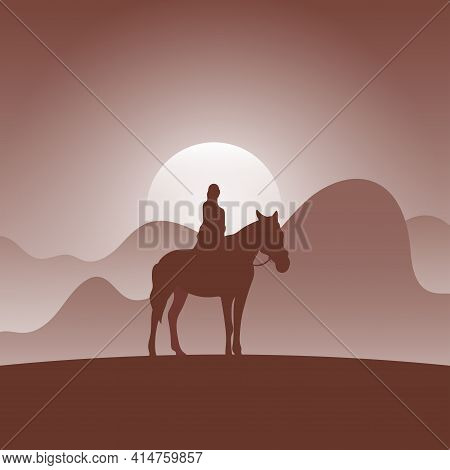 Woman On Horseback In Brown Gradient Shade Nature Background Illustration Vector.